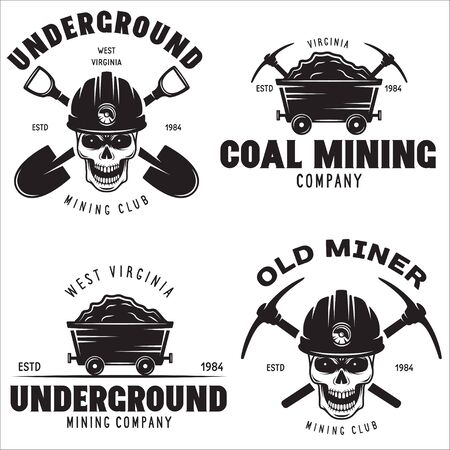 Set of mining or construction badges, emblems and labels in vintage style. Monochrome Graphic Art. Vector Illustration. Isolated on white background.