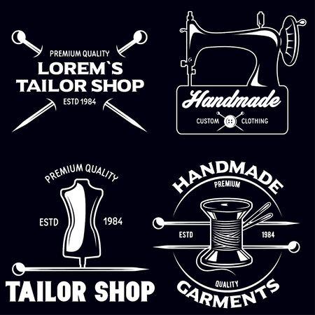 Set of vintage tailor labels, emblems and designed elements. Tailor shop theme. Isolated on white background, Vektorové ilustrace