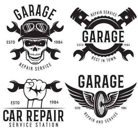 Vintage car service badges, templates, emblems and design elements, garage repair retro labels collection. Vecteurs