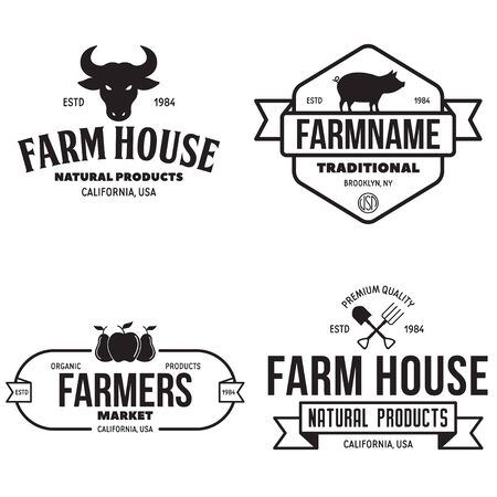 Farmers market logos templates vector objects set. Logotypes or badges design. Trendy retro style illustration, farm natural organic products food, rooster, pig and fruits. Vector illustration.