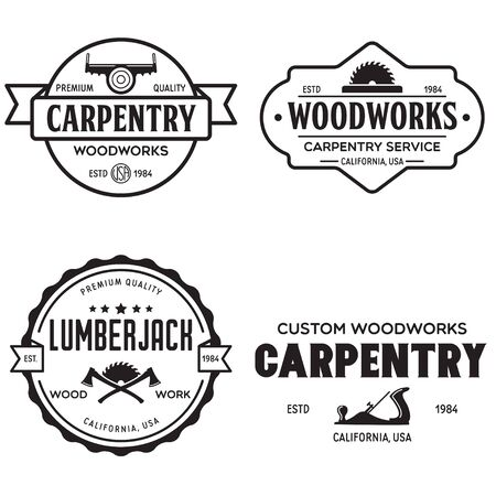 Woodwork badges. Set of carpentry, woodworkers, lumberjack, sawmill service monochrome vector labels, emblems