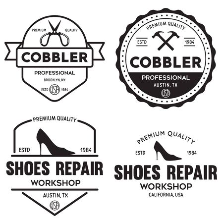 Vector set of vintage logos, labels, badges, emblems or logotypes elements for shoemaker, shoes shop and shoes repair. Isolated illustration.