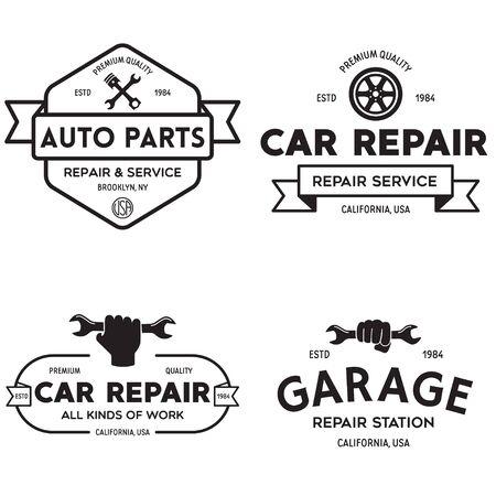 Set of vintage monochrome car repair service templates of emblems, labels, badges and logos. Service station auto parts tires shop mechanic on duty. Vector illustration. Logo