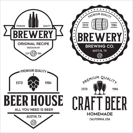 Set of vintage monochrome badge, logo templates and design elements for beer house, bar, pub, brewing company, brewery, tavern, restaurant. Isolated illustration.