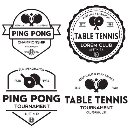 vector set of  logos, emblems and design elements. table tennis logotype templates and badges. Vintage vector illustration.