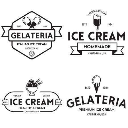 Set of vintage ice cream shop logo badges and labels, gelateria signs. Retro logotypes for cafeteria or bar. Isolated vector illustration. Illustration