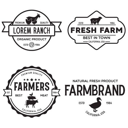 Farmers market  templates stamps labels badges set. Trendy retro style  , farm natural organic products food, animals, beef, goat, hen and pig silhouettes. Vintage.