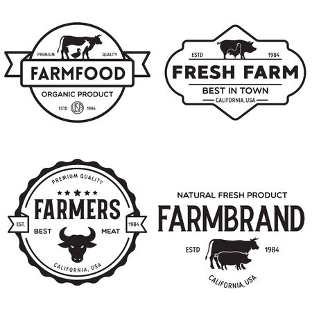 Farmers market templates stamps labels badges set. Trendy retro style  , farm natural organic products food, animals, beef, goat, hen and pig silhouettes. Vintage. 向量圖像
