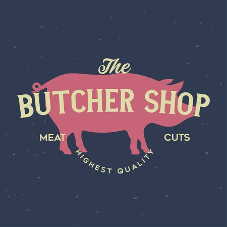 Butcher Shop and Butchery hand written lettering  , label, badge, emblem. Template for shop, cover, sticker, print, business works. Vintage retro style. Vector illustration 向量圖像