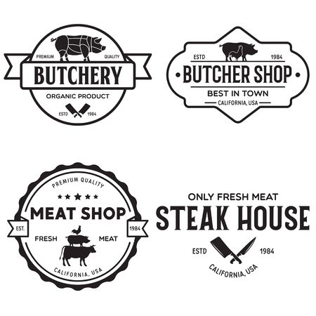 Set of Butcher Shop and Butchery hand written lettering, label, badge, emblem. Template for shop, cover, sticker, print, business works. Vintage retro style. Vector illustration