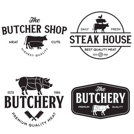 Set of Butcher Shop and Butchery hand written lettering  , label, badge, emblem. Template for shop, cover, sticker, print, business works. Vintage retro style. Vector illustration