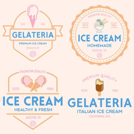 Set of vintage ice cream shop  badges and labels, gelateria signs. Retro  for cafeteria or bar. Isolated vector illustration. Illustration