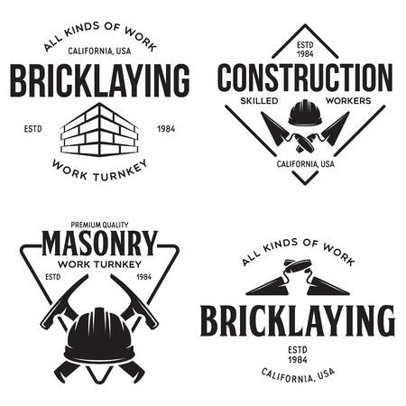 Set of vintage construction and bricklaying labels. Posters, stamps, banners and design elements. Vector illustration Vector Illustration