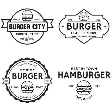 Set of badges, banner, labels for hamburger, burger shop. Simple and minimal design. Isolated vector illustration.
