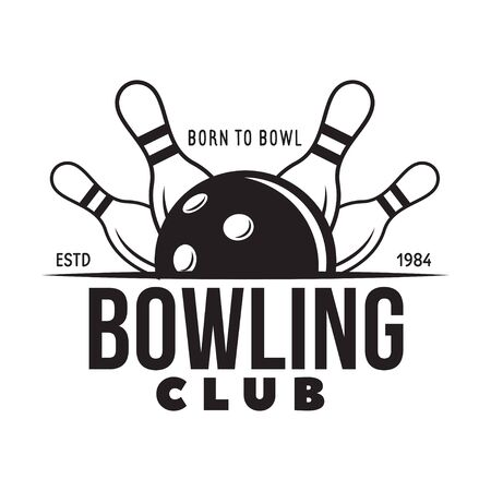 Vector vintage monochrome style bowling , icon, symbol. Bowling ball and bowling pins illustration. Trendy design elements, isolated on white background. Ilustração