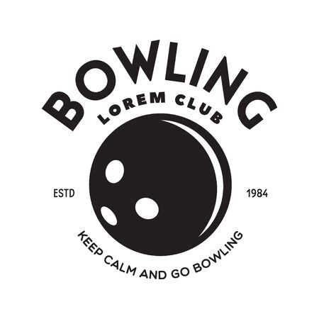 Vector vintage monochrome style bowling, icon, symbol. Bowling ball and bowling pins illustration. Trendy design elements, isolated on white background.