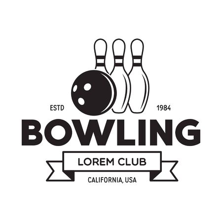 Vector vintage monochrome style bowling , icon, symbol. Bowling ball and bowling pins illustration. Trendy design elements, isolated on white background.