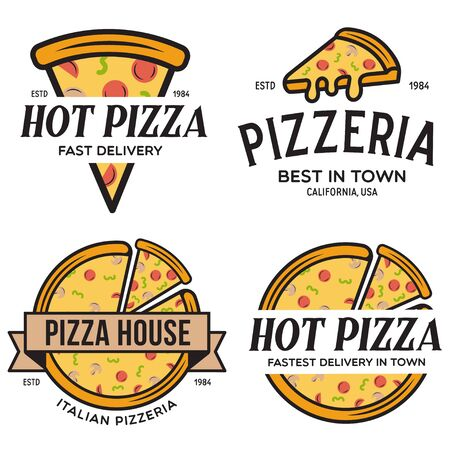 Set of pizza , badges, banners, emblems for fast food restaurant. Collection labels for menu design restaurant or pizzeria. Isolated vector illustration. Vetores