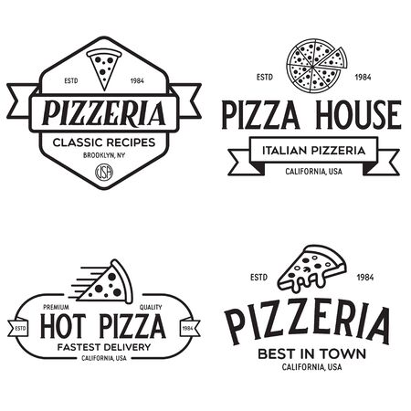 Set of pizza , badges, banners, emblems for fast food restaurant. Collection labels for menu design restaurant or pizzeria. Isolated vector illustration.