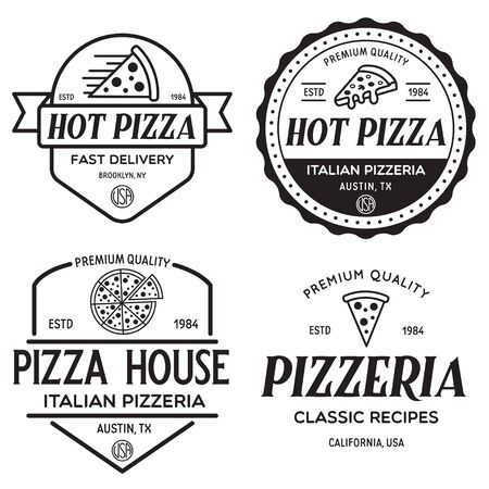 Set of pizza , badges, banners, emblems for fast food restaurant. Collection labels for menu design restaurant or pizzeria. Isolated vector illustration. Vector Illustration