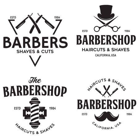 Set of vintage barbershop labels. Templates for the design and emblems. Collection of barbershop symbols - razor, pole, scissors. Vector illustration.