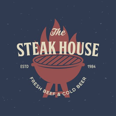 Steak House, barbecue, bbq party, restaurant template. Collection elements for grill menu design. Vintage vector illustration.
