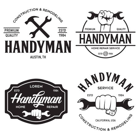 Handyman labels badges emblems and design elements. Tools silhouettes. Carpentry related vintage illustration. Isolated vector illustration.