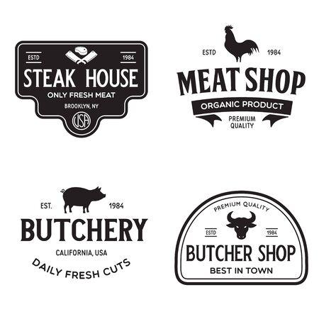 Set of Butcher Shop and Butchery hand written lettering label, badge, emblem. Template for shop, cover, sticker, print, business works. Vintage retro style. Vector illustration