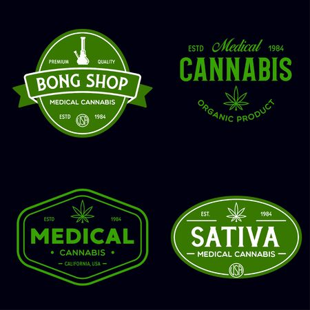 Set of Modern vintage cannabis   labels badges templates. Medical marijuana logotypes. Isolated vector illustration.
