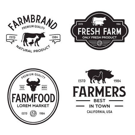 Bauernmarkt-Vorlagen-Stempel-Etiketten-Abzeichen-Set. Trendige Logos im Retro-Stil, natürliche Bio-Lebensmittel, Tiere, Rinder, Ziegen, Hühner und Schweine Silhouetten. Jahrgang.