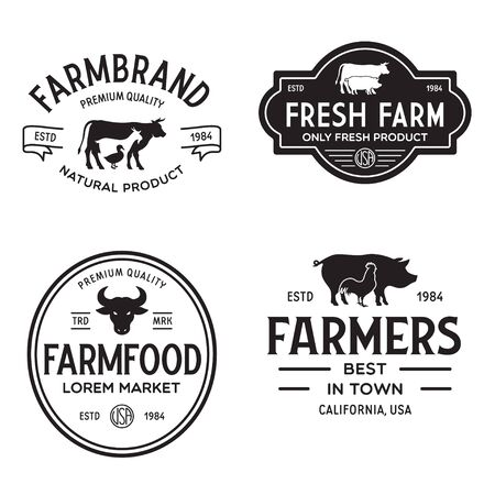 Farmers market templates stamps labels badges set. Trendy retro style logotypes, farm natural organic products food, animals, beef, goat, hen and pig silhouettes. Vintage.