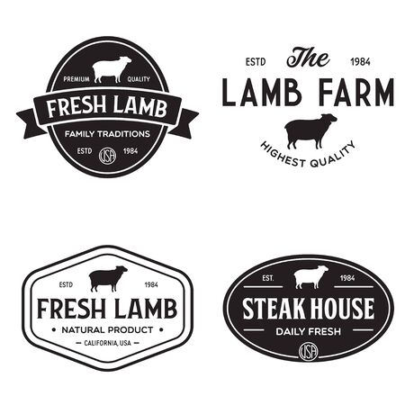Set of premium lamb labels, badges and design elements.