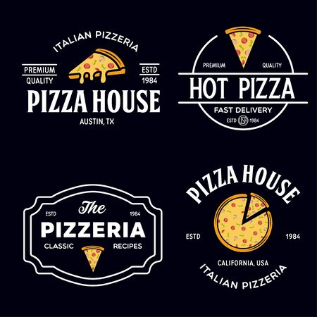 Set of pizza badges, banners, emblems for fast food restaurant. Collection labels for menu design restaurant or pizzeria. Isolated vector illustration. Ilustración de vector