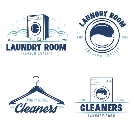 Set of labels for laundry service. Vector emblems and design elements. Laundry and household wash templates and badges. Vector illustration.