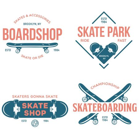 Skateboarding labels badges set. Quotes about skating. Skat of die. Live love sk8. Design elements for posters, t-shirt prints, emblems. Vector vintage illustration.