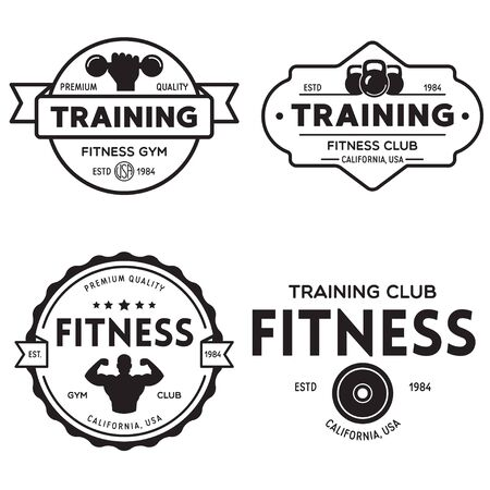 Set of fitness badges with sport equipment and people. Labels in vintage style with sport silhouette symbols. Vector illustration.