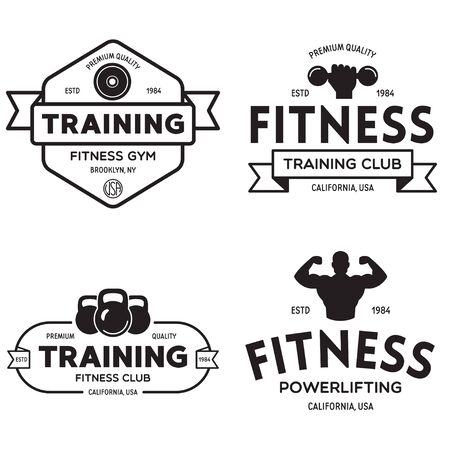 Set of fitness badges with sport equipment and people. Labels in vintage style with sport silhouette symbols. Vector illustration. Ilustracje wektorowe