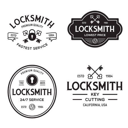 Set of vintage locksmith retro styled key cutting service emblems, badges, design elements, logotype templates. Vector illustration. Logo
