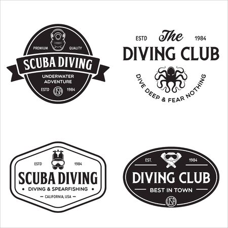 Set of Scuba diving club and diving school design. Concept for shirt print, stamp or tee. Vintage typography design with diving gear silhouette. Vector illustration. 向量圖像