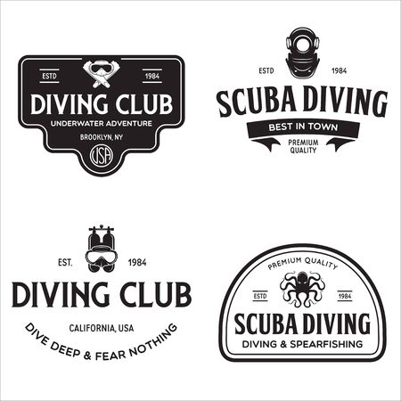 Set of Scuba diving club and diving school design. Concept for shirt  print, stamp or tee. Vintage typography design with diving gear silhouette. Vector illustration. 版權商用圖片 - 147808500