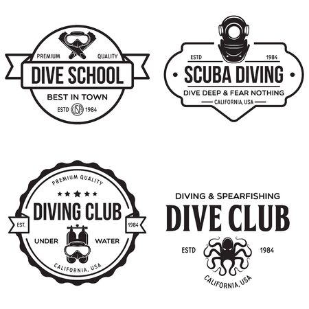 Set of Scuba diving club and diving school design. Concept for shirt  print, stamp or tee. Vintage typography design with diving gear silhouette. Vector illustration.