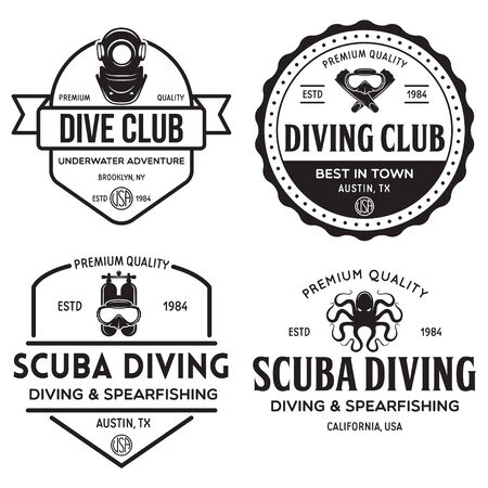 Set of Scuba diving club and diving school design. Concept for shirt print, stamp or tee. Vintage typography design with diving gear silhouette. Vector illustration. 版權商用圖片 - 147808525