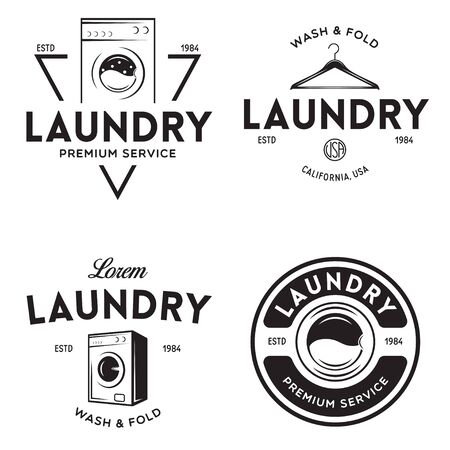 Set of labels for laundry service. Vector emblems and design elements. Laundry household wash templates and badges. Vector illustration.
