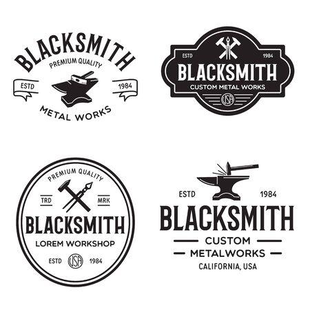 Blacksmith labels set. Design elements for metalworks service emblems, badges . Monochrome seal collection. Vector vintage illustration. Vecteurs