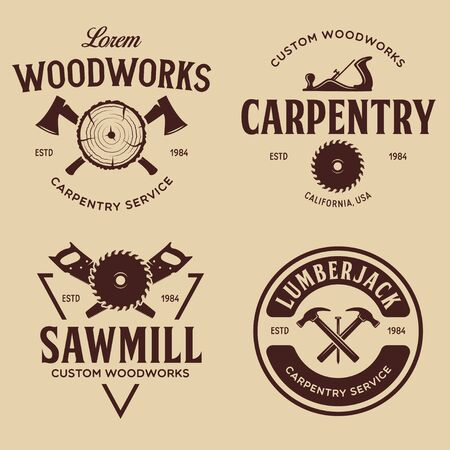 Woodwork badges. Set of carpentry, woodworkers, lumberjack, sawmill service monochrome vector labels, emblems . Isolated vector illustration.