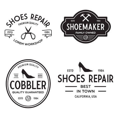 Vector set of vintage labels, badges, emblems or logotypes elements for shoemaker, shoes shop and shoes repair.