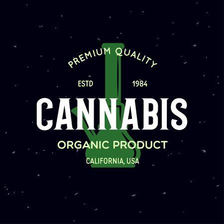 Modern vintage cannabis label badge template. Medical marijuana logotype. Logo