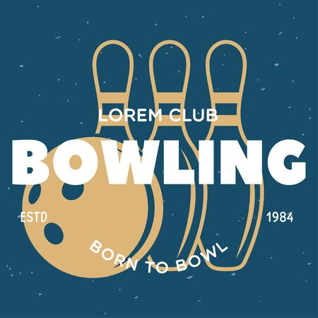 Vector vintage monochrome style bowling icon, symbol. Bowling ball and bowling pins illustration.
