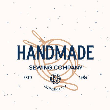 Vintage sewing and tailor label, badge, design elements and emblem. Tailor shop old-style . Isolated vintage illustration.