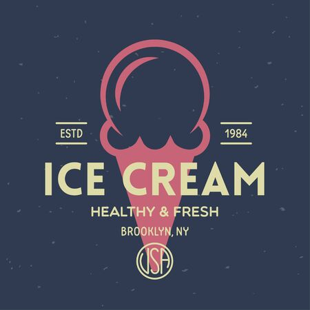 Vintage ice cream shop badge and label, gelateria sign. Retro logotype for cafeteria or bar. Isolated vector illustration. Illustration